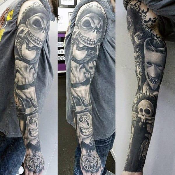 Full Sleeve Mens Jack The Pumpkin King Tattoo