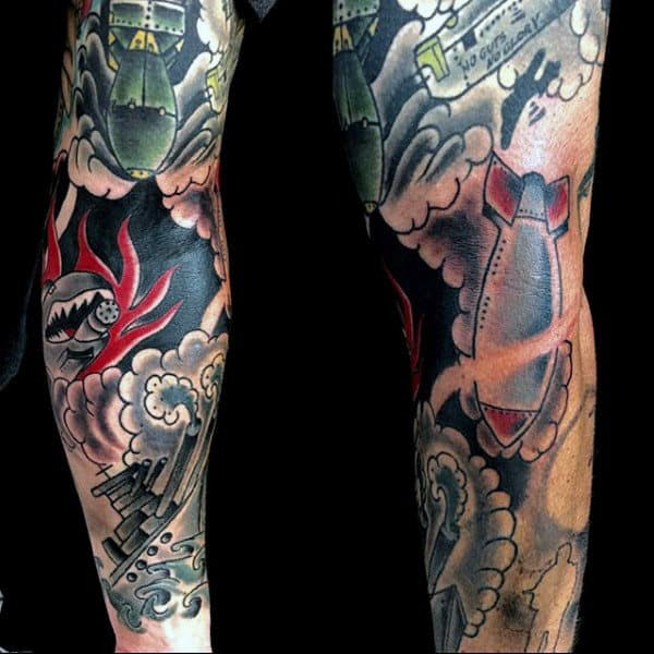 Full Sleeve Mens Japanese Army Themed Tattoo Ideas