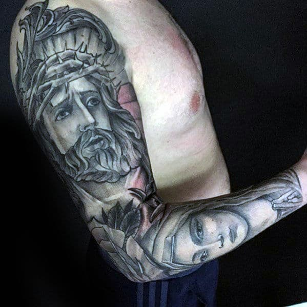 Full Sleeve Mens Jesus And Mother Mary Tattoo Inspiration