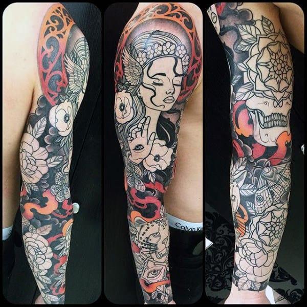 Full Sleeve Mens Leopard Tattoo Design Ideas