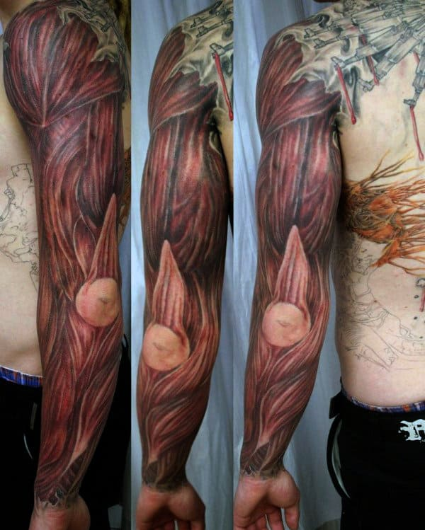 Full Sleeve Mens Muscle Tattoo