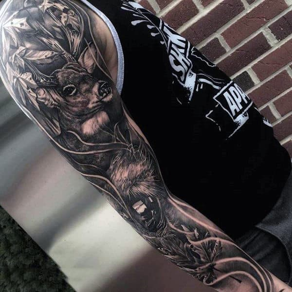 Full Sleeve Mens Nature Deer Tattoos