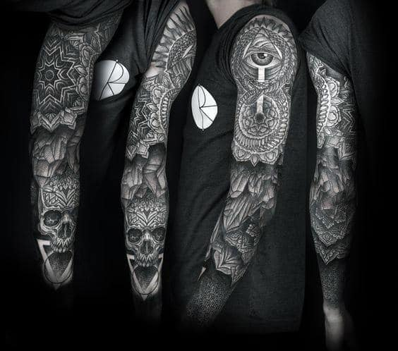 Full Sleeve Mens Pattern Ouroboros Tattoo Ideas
