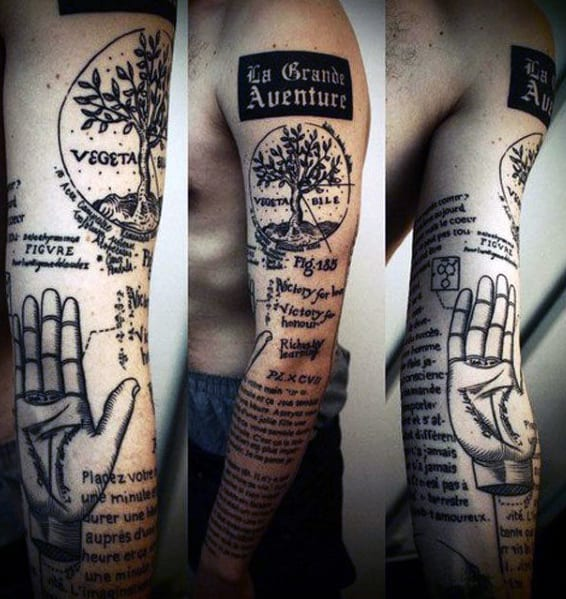 Full Sleeve Men's Quote Tattoo Ideas