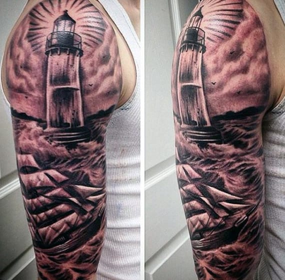 Full Sleeve Mens Sailor Tattoo