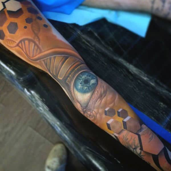 Full Sleeve Mens Science Tattoo