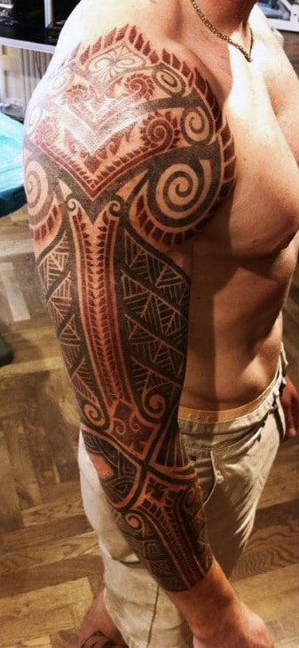 Full Sleeve Men's Tattoos Of Vikings