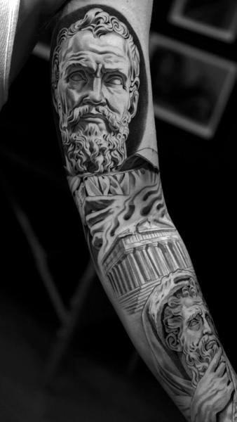 Full Sleeve Mens Zeus Tattoo