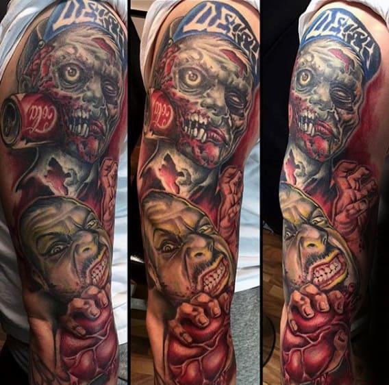 Full Sleeve Mens Zombie Tattoo Design Ideas