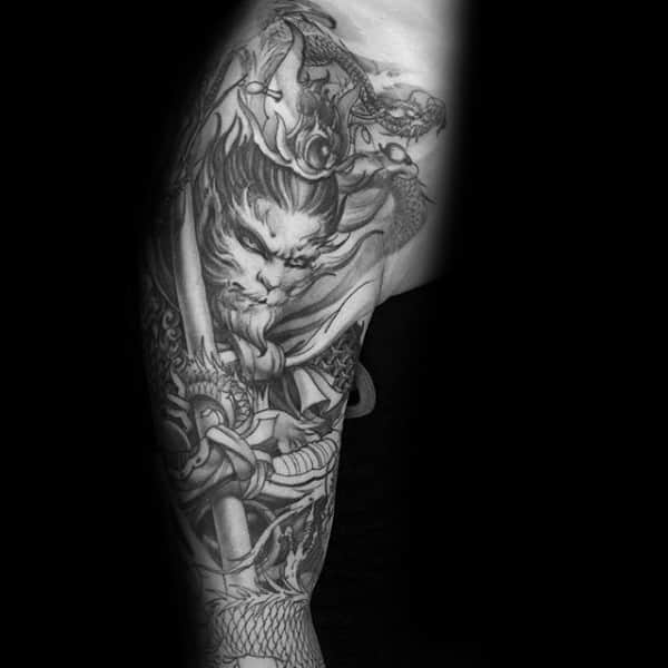 Full Sleeve Monkey King Guys Sketched Style Tattoo Ideas