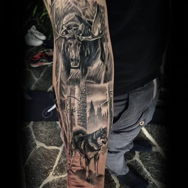 Full Sleeve Moose Nature Tattoos For Men