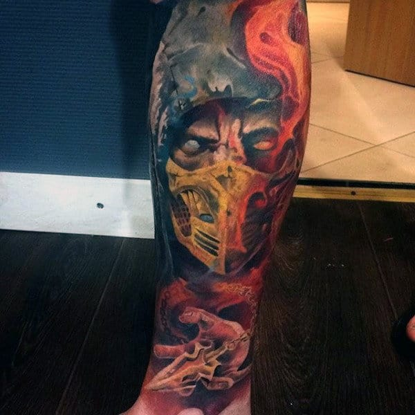 Full Sleeve Mortal Kombat Male Tattoo Ideas