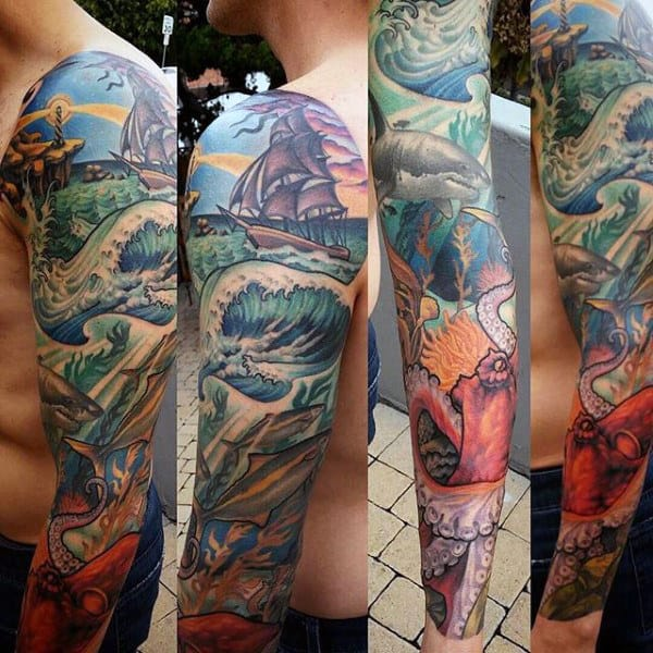 Full Sleeve Nautical Mens Ocean Tattoo Designs