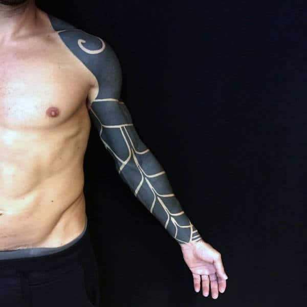 Full Sleeve Negative Space Blackwork Male Tattoos