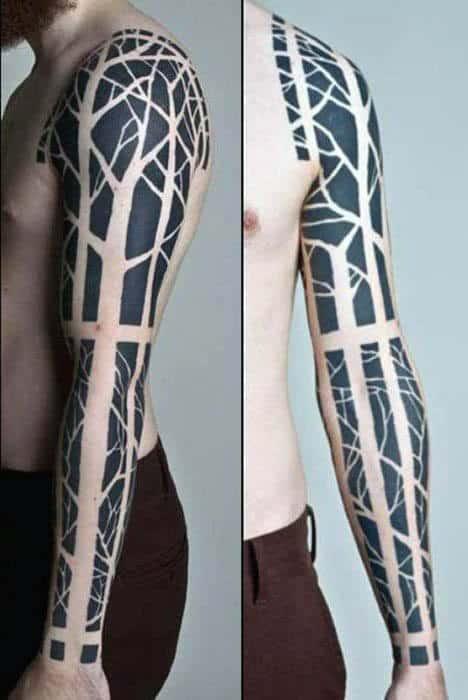 Full Sleeve Negative Space Tree Male Tattoos