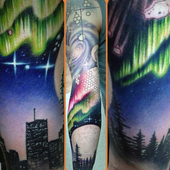 Full Sleeve Northern Lights Male Tattoo Ideas