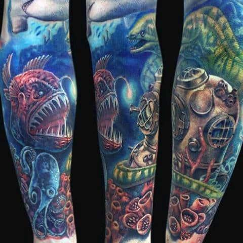 Full Sleeve Ocean Life Themed Mens Water Tattoos