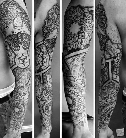 Full Sleeve Pencil Art Buddhism Tattoo For Men