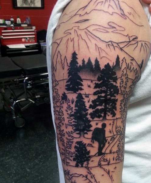 Full Sleeve Pine Tree Tattoo For Men