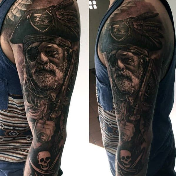 Full Sleeve Pirated Themed Mens Flag Tattoo