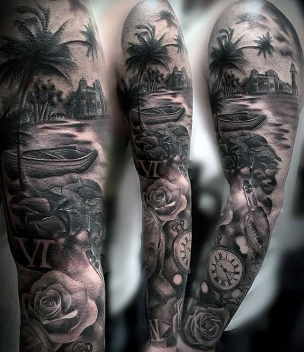 Full Sleeve Pocket Watch Roman Numeral Mens Tattoos