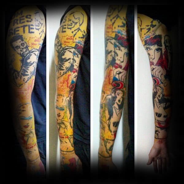 Full Sleeve Pop Art Mens Tattoos