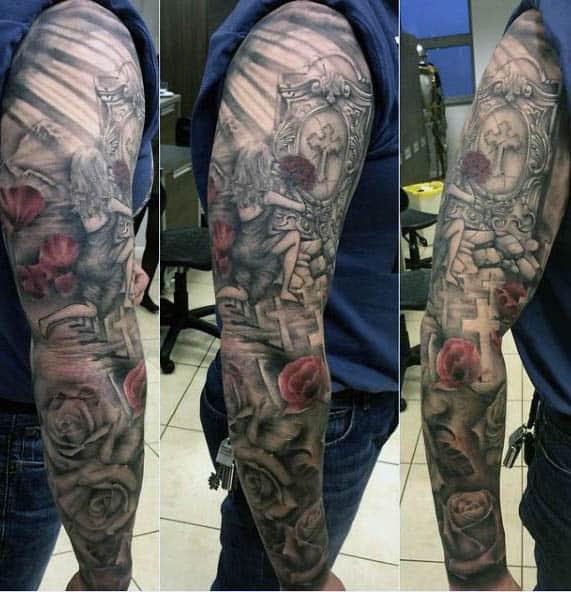 Full Sleeve Poppy Flower Tattoo For Men With Roses And Cross