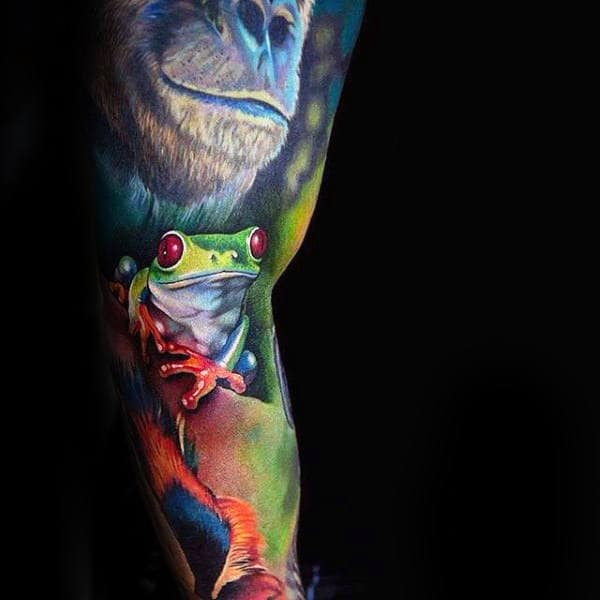 Full Sleeve Rainforest With Gorilla Mens Frog Tattoo