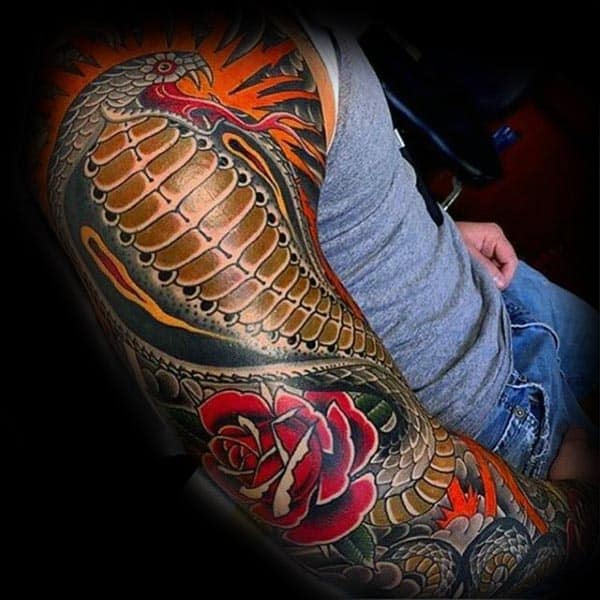 Full Sleeve Red Rose Cobra Male Tattoo Ideas