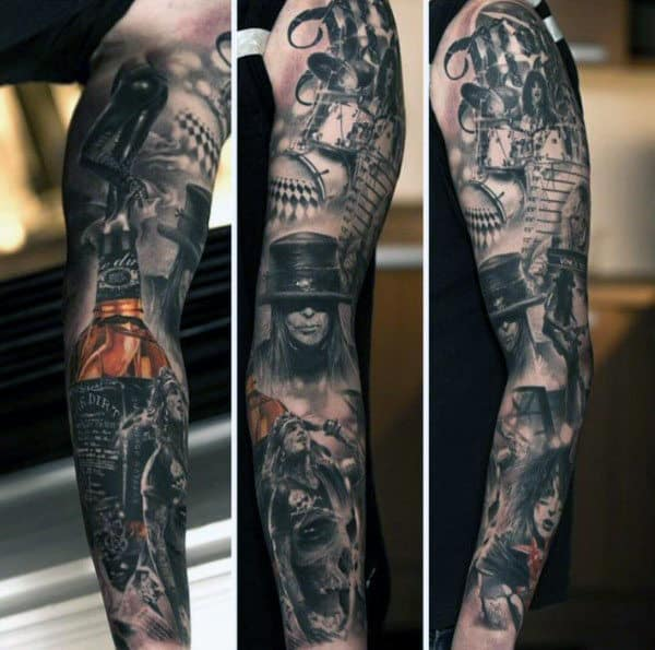 Full Sleeve Rock And Roll Jack Daniels Mens Tattoos