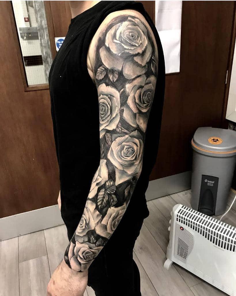 full sleeve rose sleeve tattoos elysium_ink