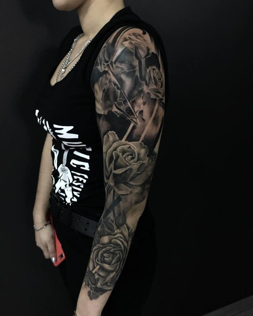 full sleeve rose sleeve tattoos tattooire