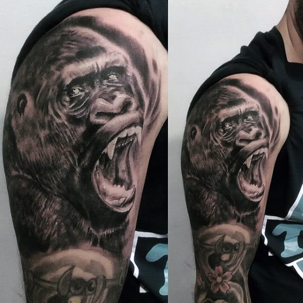Full Sleeve Shading Gorilla Tattoo For Men