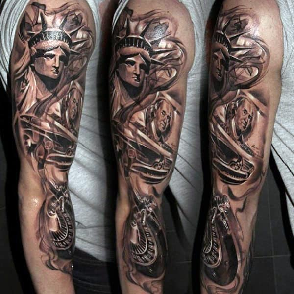 Full Sleeve Statue Of Liberty Tattoo For Males