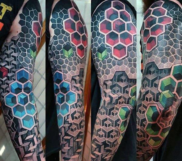 Full Sleeve Tattoo Badass Hexagon Geometric 3d Honeycomb Design On Man