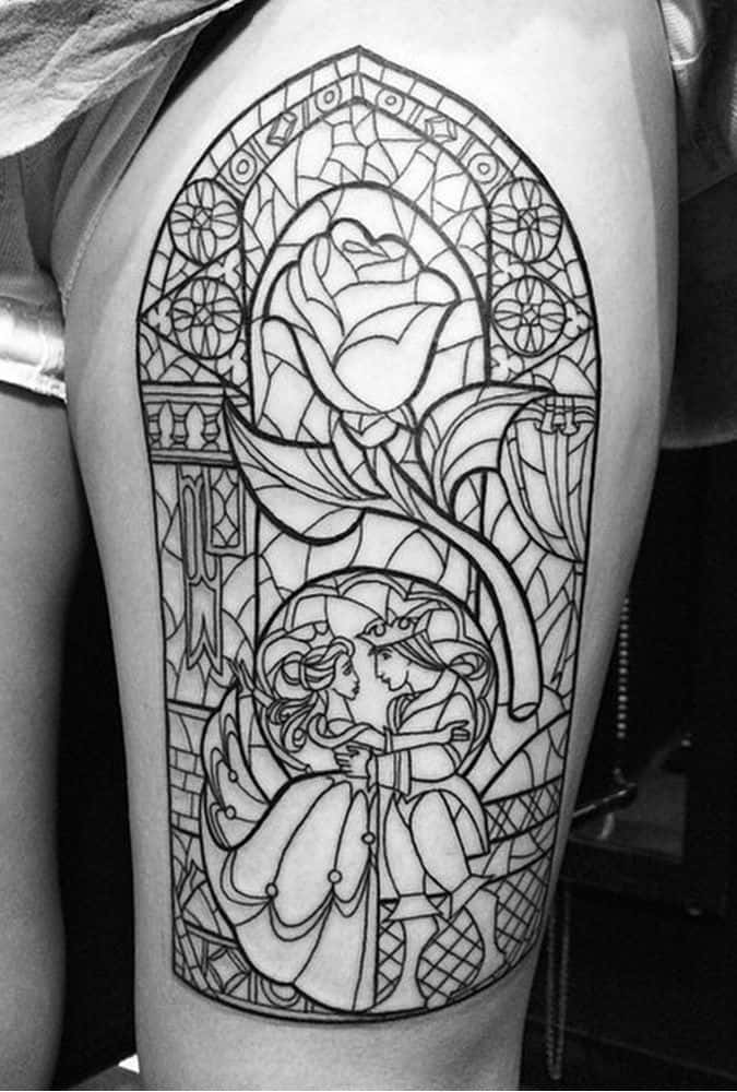 Full Sleeve Tattoo Beauty And The Beast Tattoo