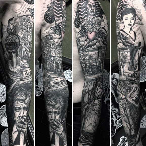 Full Sleeve Tattoo Male Twin Peaks Themed Ink Ideas