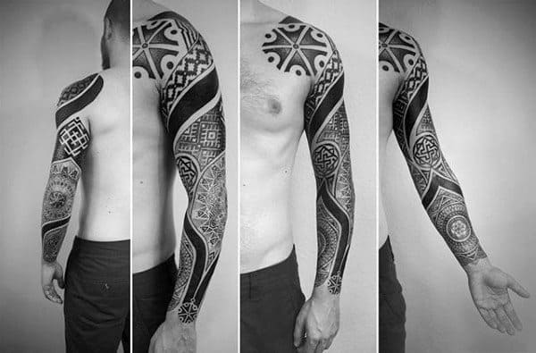 Full Sleeve Tattoo On Man With Factal Design