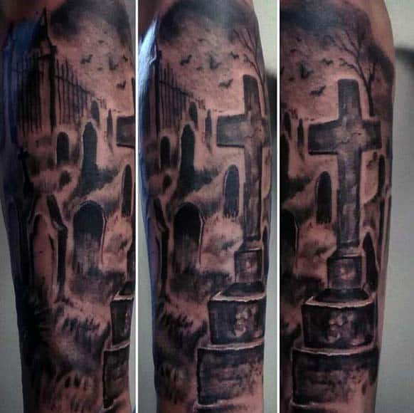 Full Sleeve Tombstones Male Tattoos
