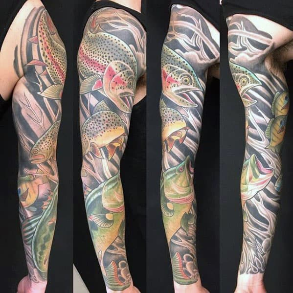 Full Sleeve Trout Fish Mens Tattoo Designs