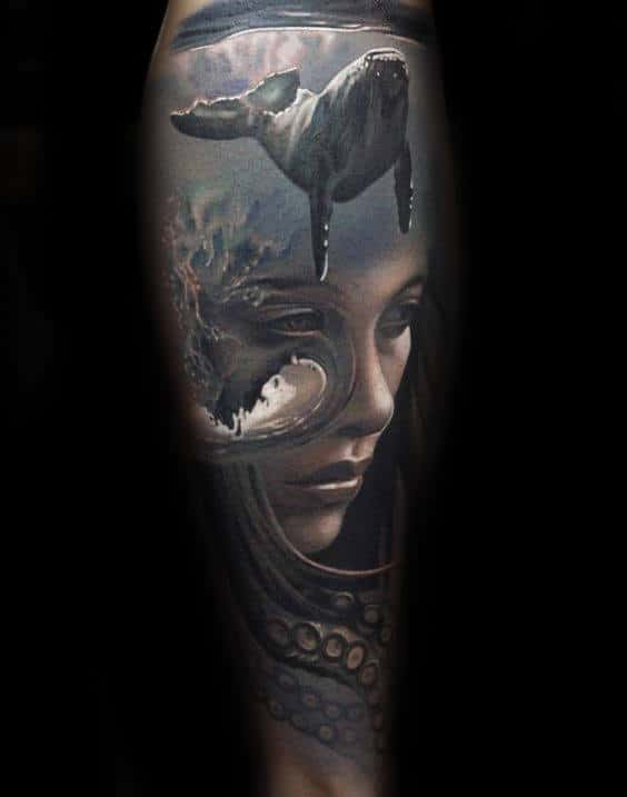 Full Sleeve Whale And Female Portrait Mens Realistic Forearm Sleeve Tattoos