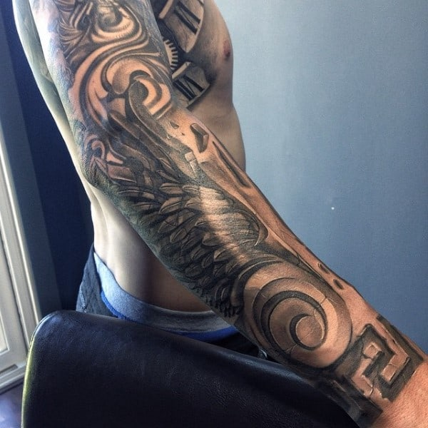 Full Sleeve Wings Stone Tattoo For Men