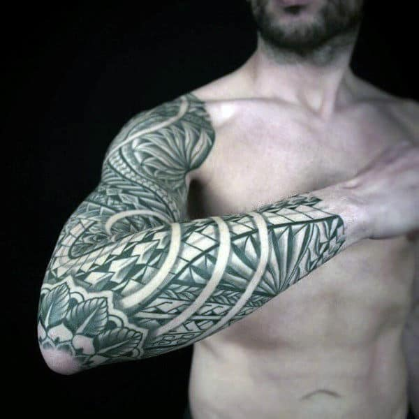 Full Sleeve With Fower On Elbow Guys Samoan Tribal Tattoos