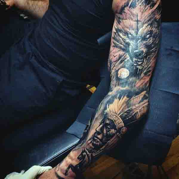 Full Sleeve Wolf Moon Tattoos For Men