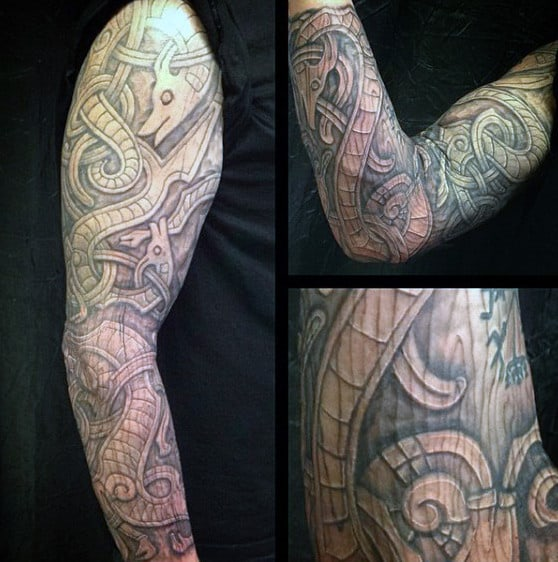 Full Sleeve Wood Carving Norse Guys Tattoo Design Ideas