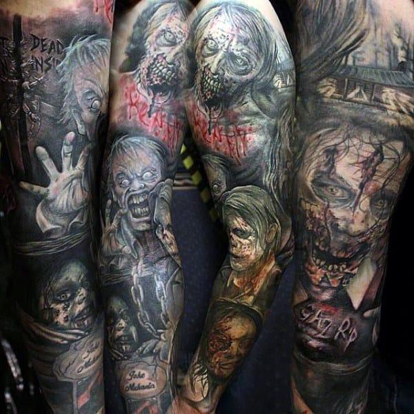 Full Sleeve Zombie Themed Tattoos For Guys