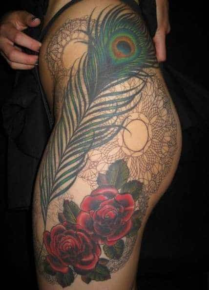 Full Thigh Peacock Feather Tattoo