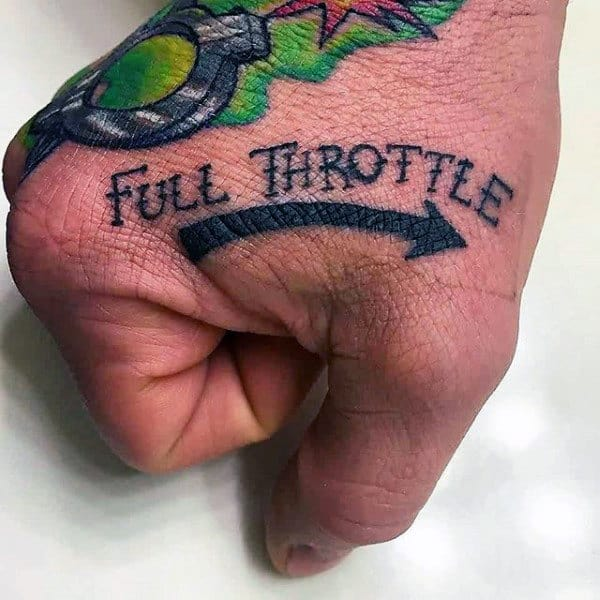 Full Throttle Biker Hand Tattoos For Guys
