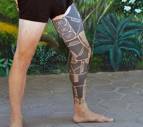 Full Tribal Leg Sleeve Tattoo Designs For Males