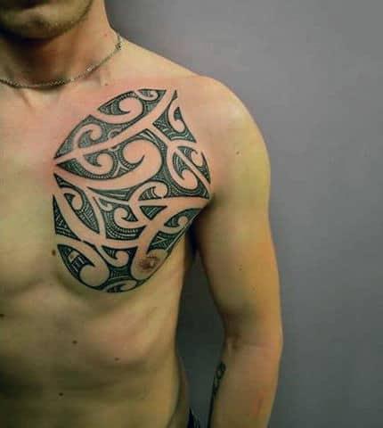 Full Tribal Tattoo Designs For Men Chest